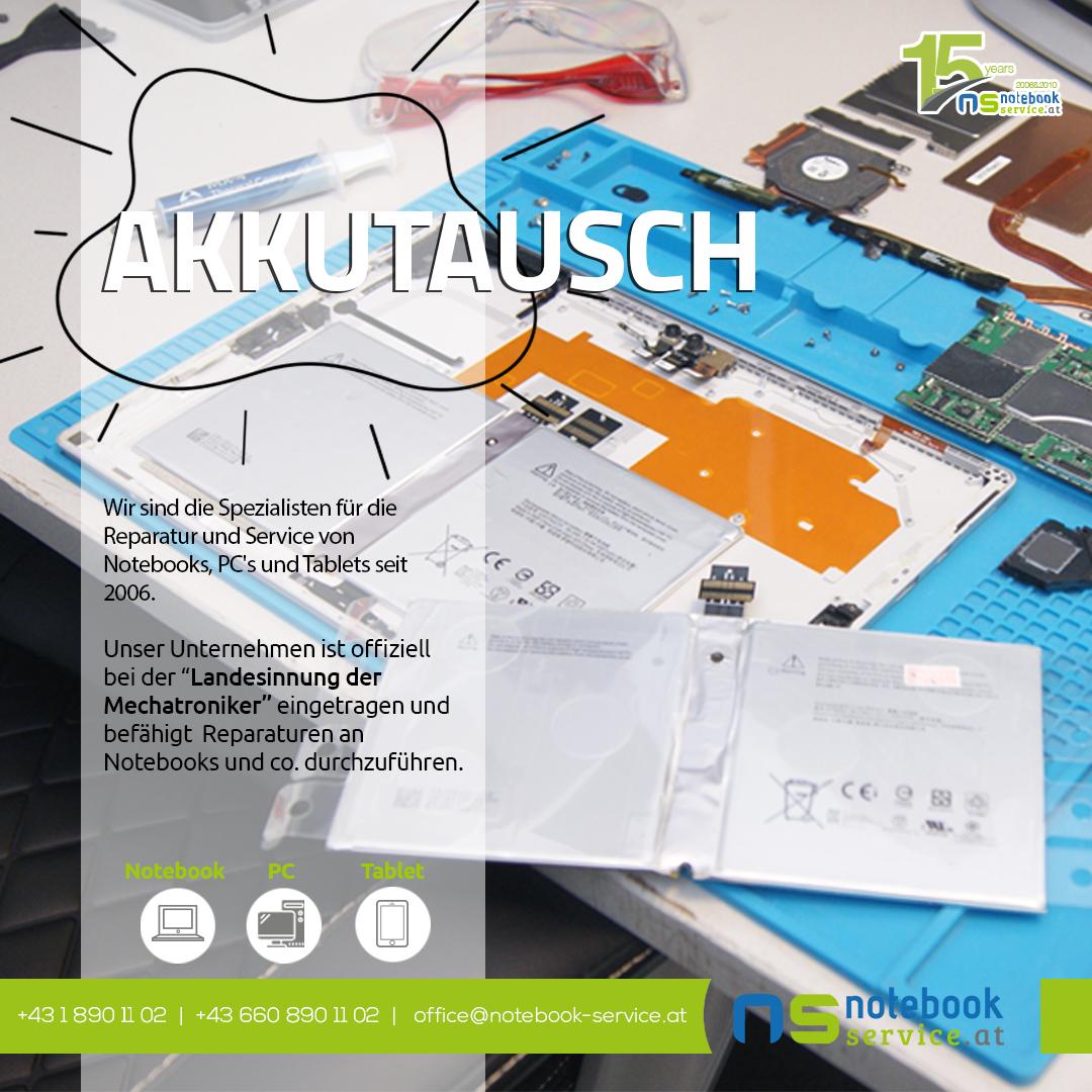 Akkutausch bei Notebook Service Wien
