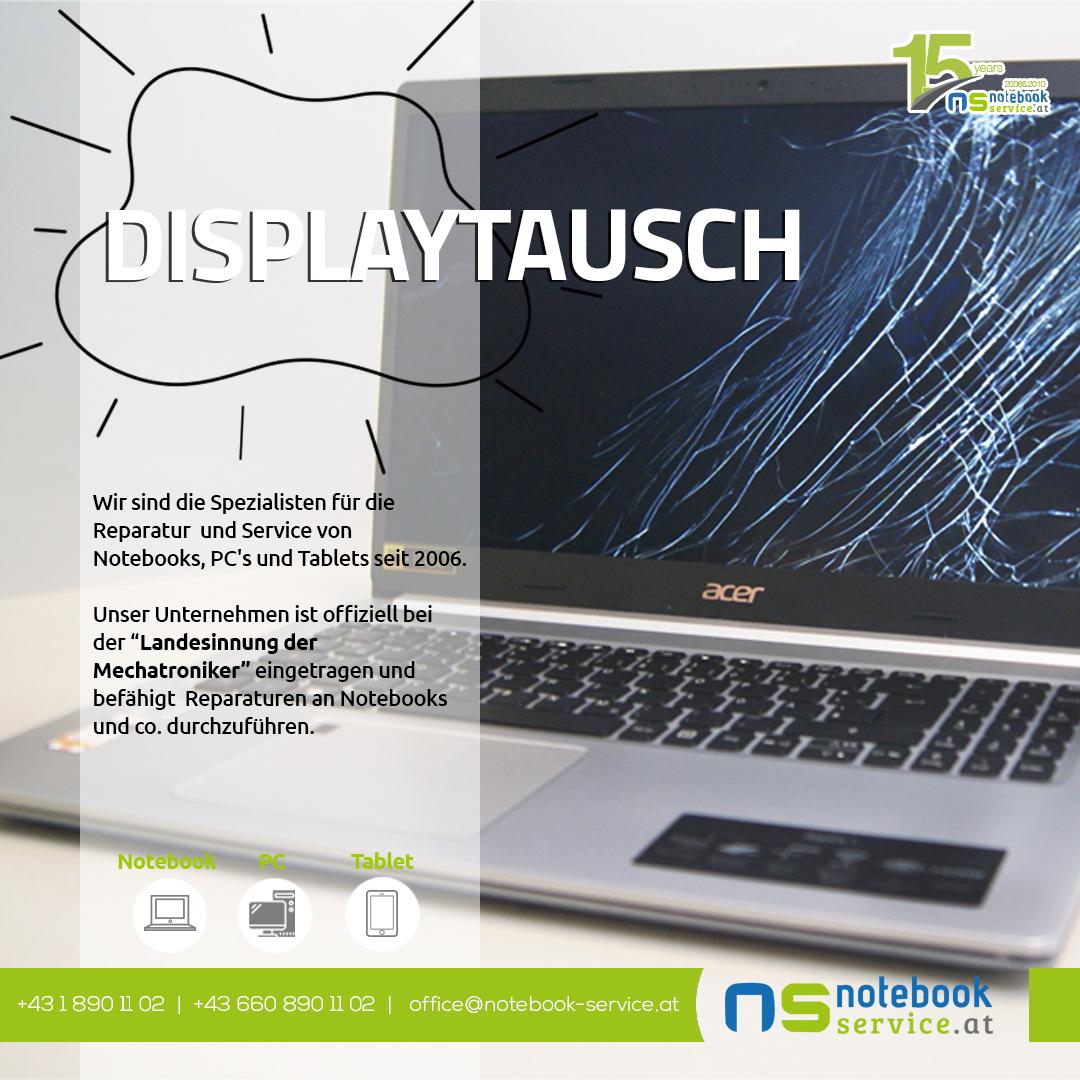 Displaytausch bei Notebook Service Wien